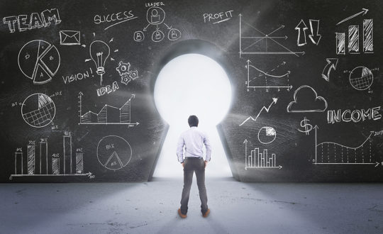 Asian Man Standing in Front of  Keyhole With Drawing Business Concept